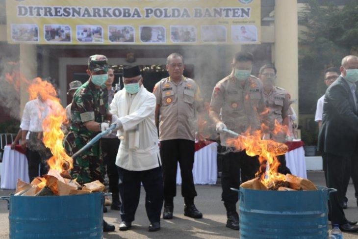 Polda Banten musnahkan narkoba shabu dan 82 Kg, empat pelaku diproses