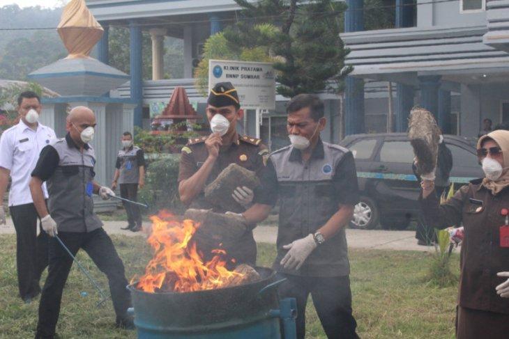 153 kilogram ganja kering dari dua tersangka dimusnahkan BNN Sumbar