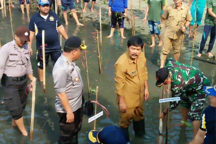 Wawako Sibolga bersama TNI-Polri tanam 3.074 pohon mangrove