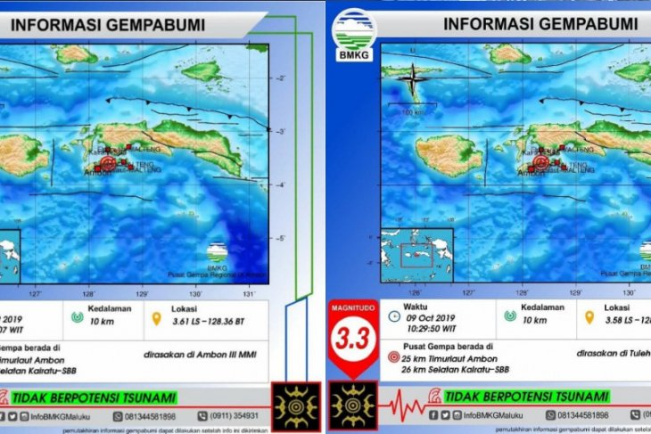 Warga Ambon berhamburan akibat guncangan dua gempa beruntun