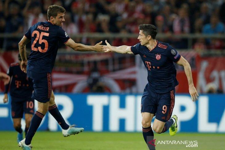 Liga Champions, Lewandowski dua gol, Muenchen bekap Olympiakos 3-2