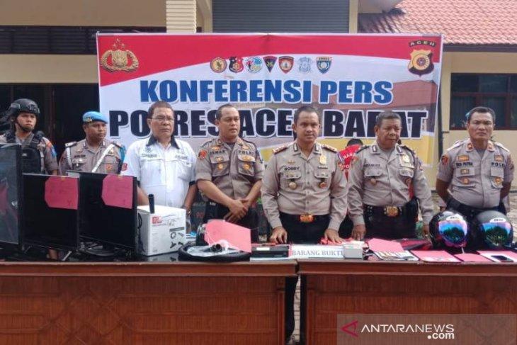 Komplotan pembobol ruko dan rumah warga di Aceh Barat diringkus polisi