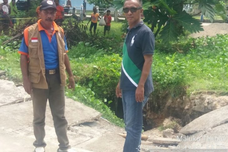 Di sekitar area tanah amblas BNPB imbau warga Sila tidak beraktivitas