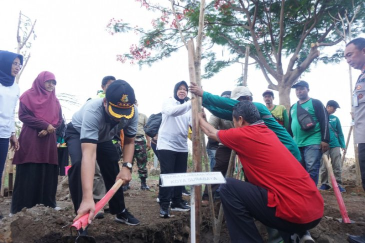 Risma pimpin penanaman pohon di kawasan Stadion GBT Surabaya