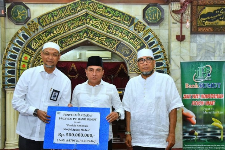 Bank Sumut salurkan zakat Rp500 juta untuk pembangunan Masjid Agung