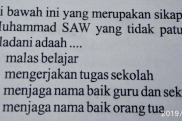 Soal ujian SD dinilai melecehkan Nabi Muhammad SAW viral di medsos