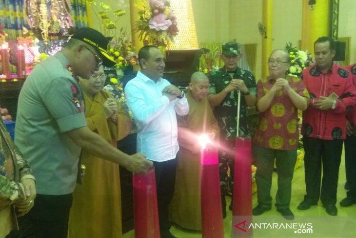Gubernur dan Kapolda Sumut mengecek pengamanan vihara di Medan