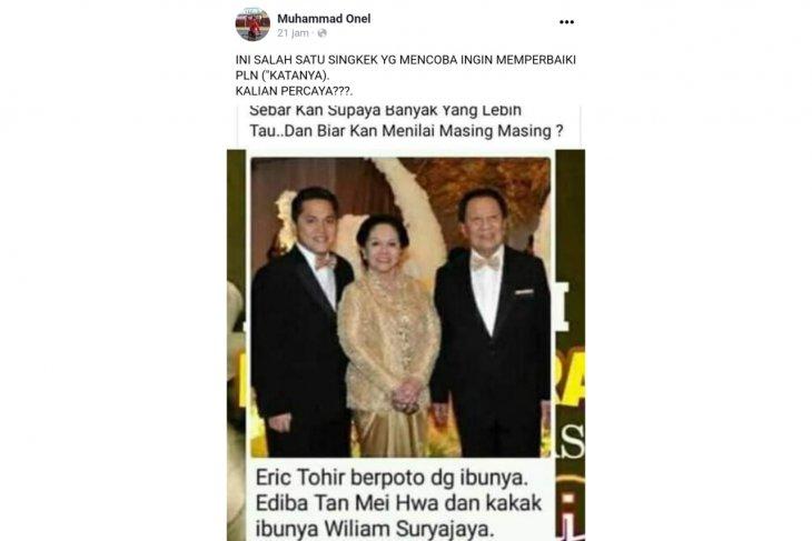 Cek fakta: Benarkah ibu Erick Thohir bernama Tan Mei Hwa?