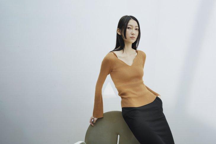 MPJ model visual 3D Knit rib sweater