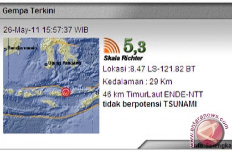 Gempa  3 SR gucang Ende