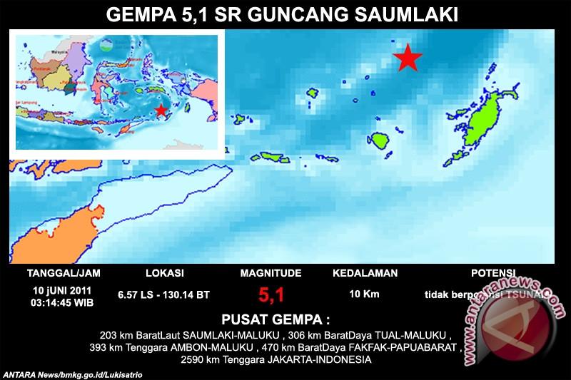 Gempa 7,7 SR guncang Maluku Tenggara Barat