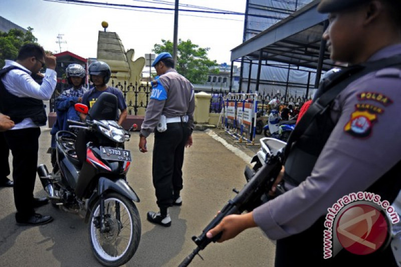 Petugas Sabhara Polrestabes Medan amankan driver ojek online