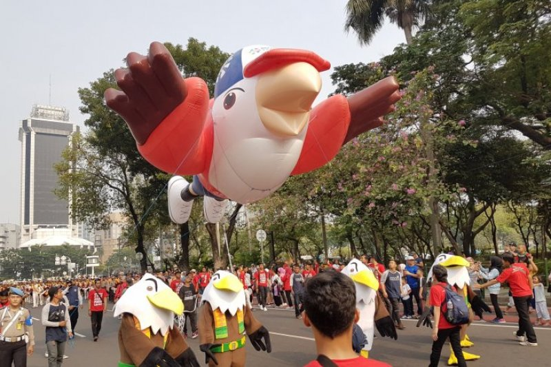 Momo maskot Asian Para Games diarak