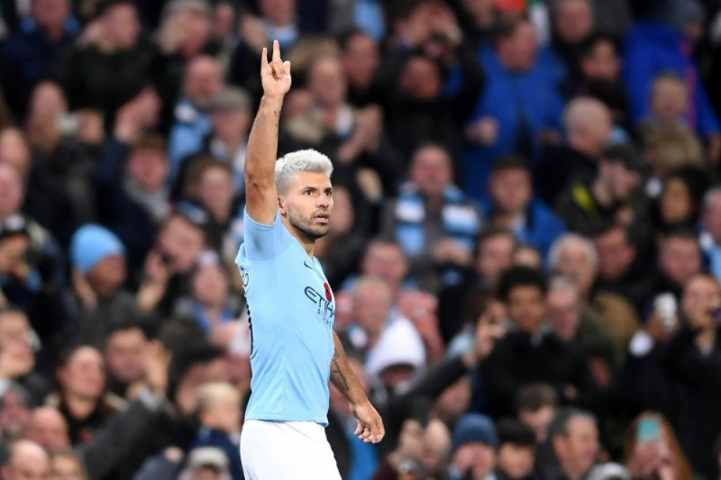 Penyerang Manchester City Sergio Aguero Merayakan Golnya Ke Gawang Manchester United Dalam Laga Lanjutan Liga Inggris Di Stadion Etihad Manchester