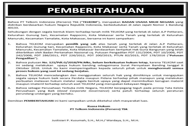 Pemberitahuan PT Telkom Indonesia (Persero) Tbk terkait klaim tanah