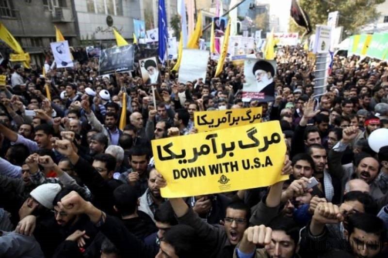 'Matilah Amerika', teriakan massa Iran di depan bekas kedubes AS