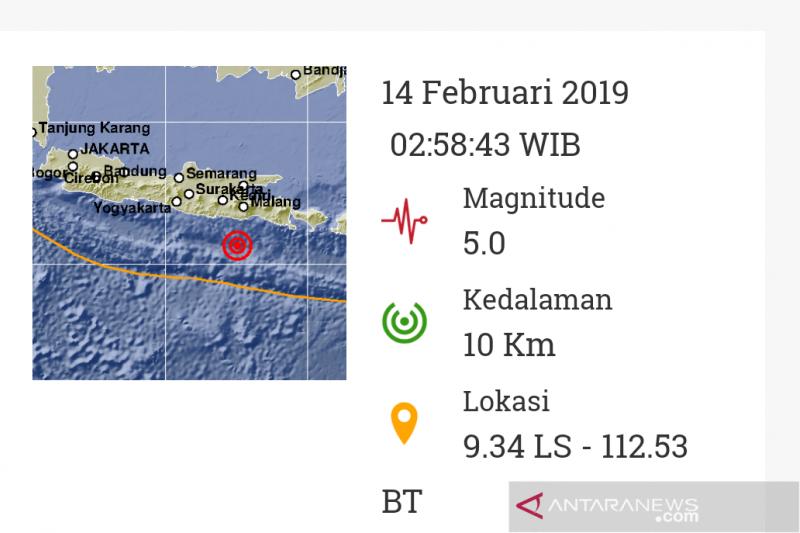 BNPB: gempa 5,9 Skala Richter di Jawa Timur tidak sebabkan kerusakan