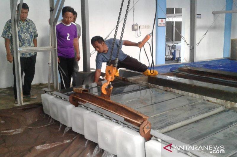 Kepala Dinas Kelautan dan Perikanan Sulteng H Hasanuddin Atjo menyaksikan proses pengambilan es di pabrik es Pelabuhan Perikanan Kolonedale, Morowali Utara,