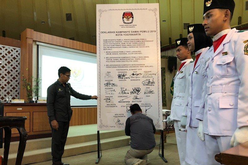 Peserta Pemilu 2019 di Yogyakarta deklarasikan kampanye damai