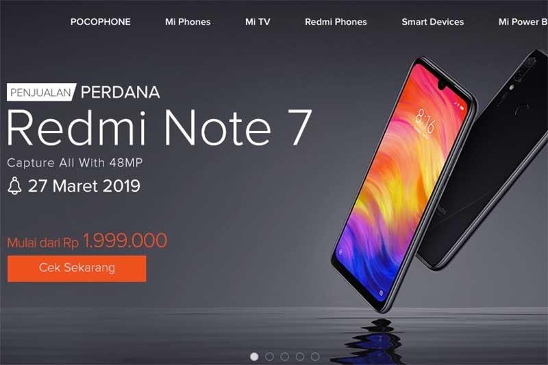 Xiaomi Redmi Note 7 sudah mulai dipasarkan