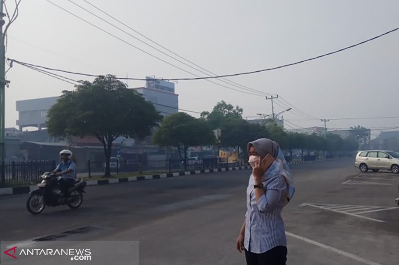 Kabut asap tipis akibat kebakaran hutan selimuti kota Pekanbaru dan Dumai