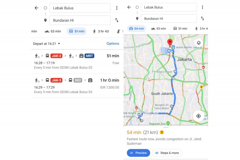 Rute MRT Jakarta tersedia di Google Maps