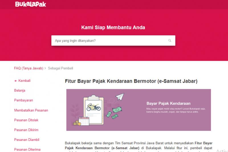 Layanan bayar pajak kendaraan online di BukaLapak