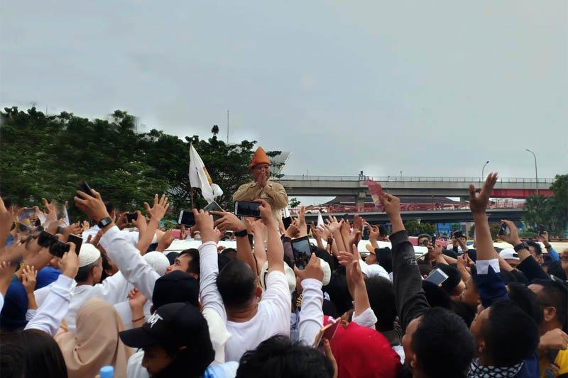 Hujan gerimis iringi kampanye akbar Prabowo di Palembang