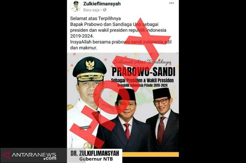 Gubernur NTB kecam hoaks ucapan selamat untuk kemenangan Prabowo-Sandiaga