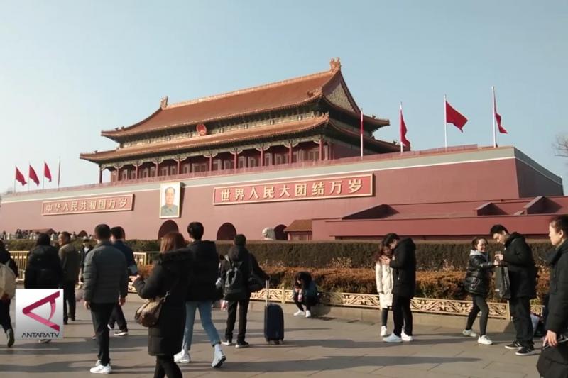 Menjelang petang di lapangan Tiananmen