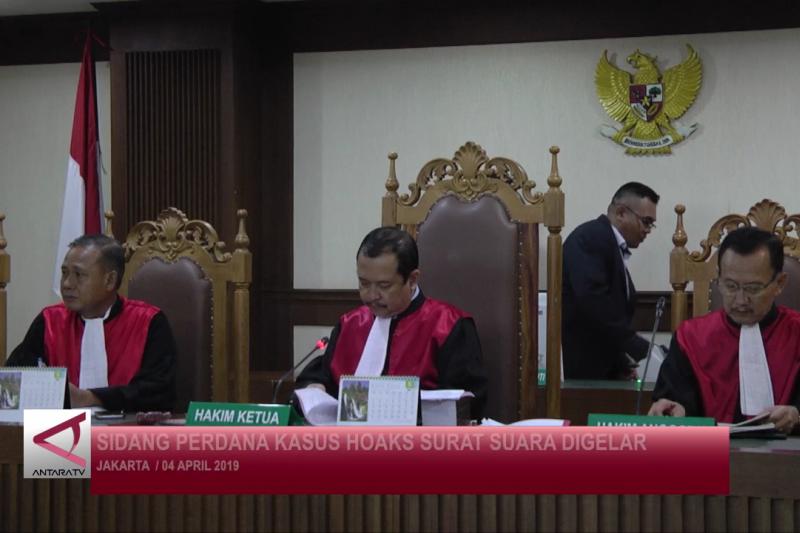 Sidang perdana kasus hoaks surat suara digelar