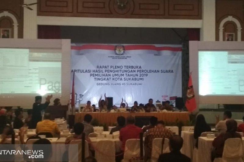 Persentase raihan suara pasangan capres di Kota Sukabumi stagnan