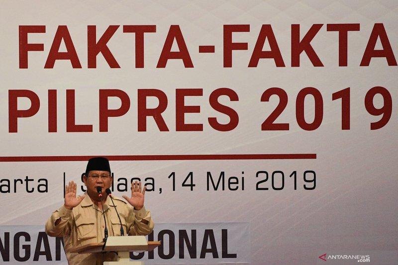Prabowo: Kami masih menaruh harapan kepada KPU untuk tegakkan keadilan dan kebenaran