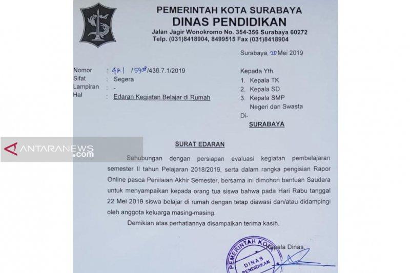 Sekolah di Surabaya diliburkan pada 22 Mei