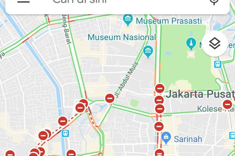 Penutupan jalan 22 Mei versi Google Maps