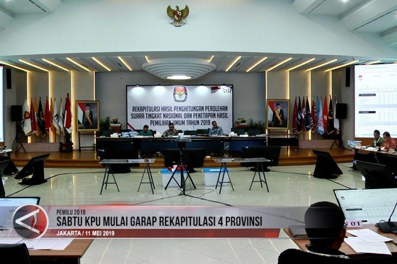 Sabtu KPU mulai garap rekapitulasi 4 provinsi