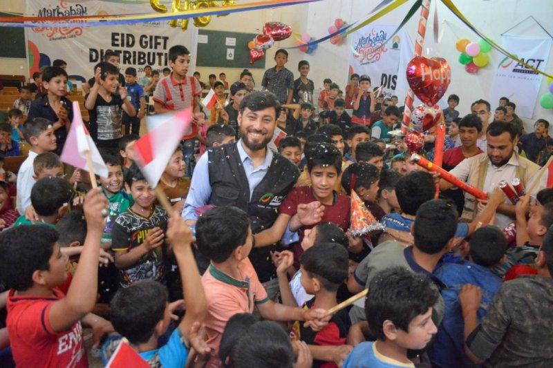 ACT berbagi kebahagian Lebaran bersama anak yatim Suriah