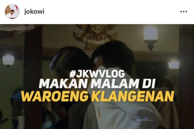 Jokowi bikin vlog bareng keluarga di Waroeng Klangenan Yogyakarta