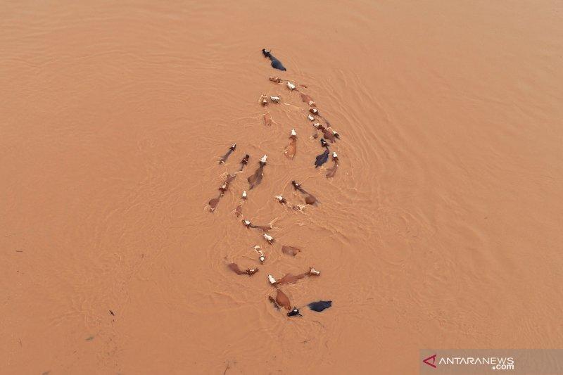 Dua mobil tercebur sungai saat jembatan di  China selatan putus