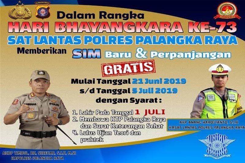 Polres Palangka Raya siap layani pembuatan SIM gratis