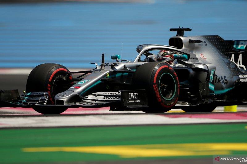 Lewis Hamilton pebalap Mercedes akhiri kualifikasi GP Prancis di posisi teratas