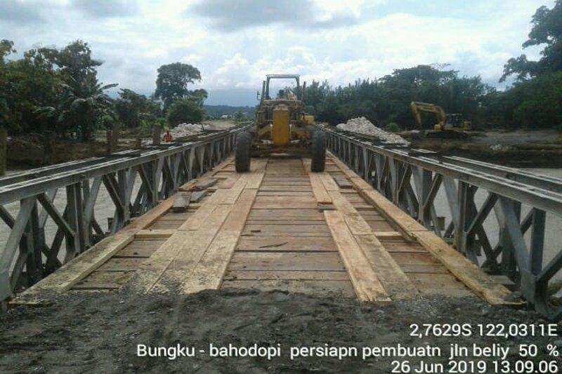Jembatan 'bailey' terpasang di Sungai Dampala, lalu lintas Sulteng-Sultra pulih