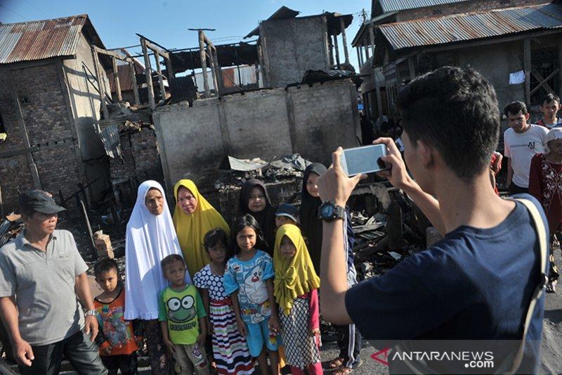 Pasca kebakaran kawasan padat penduduk Sungki