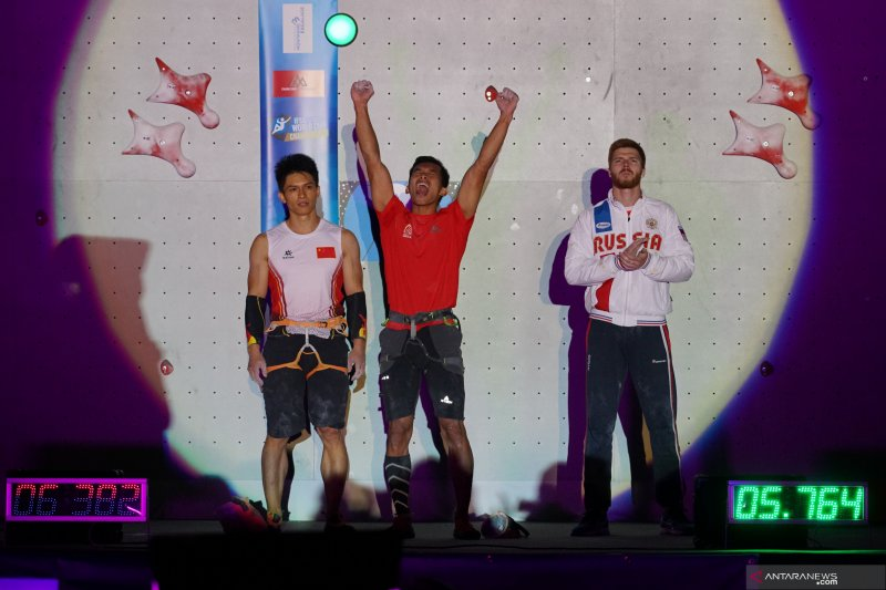 Atlet panjat tebing Indonesia Alfian M Fajri juara dunia nomor rekor kecepatan dunia