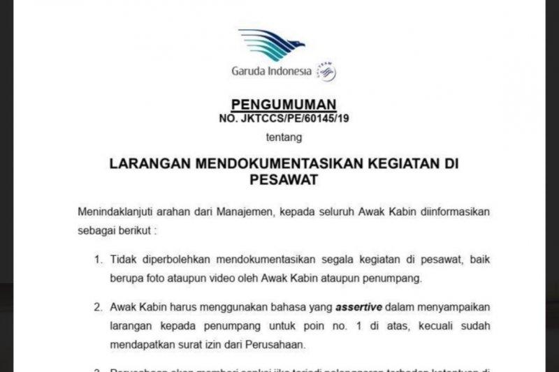 Larangan memotret di pesawat Garuda diganti dengan imbauan
