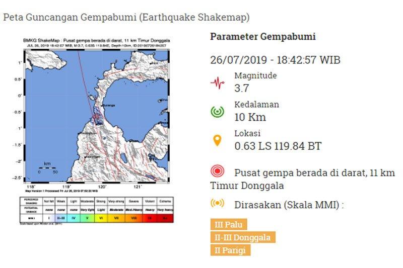 Gempa di Palu berpusat di Donggala