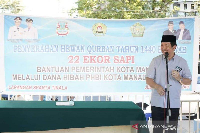 Pemkot Manado berikan sumbangan 22 ekor hewan kurban