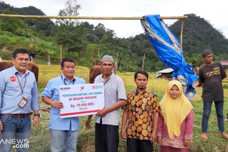 BNI Wilayah Padang serahkan bantuan 11 sapi kurban dan sembako