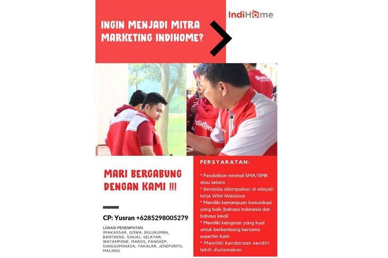 Mitra Agency PT Telkom butuh marketing IndiHome