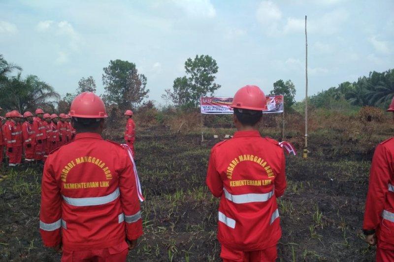 Puluhan anggota Manggala Agni upacara HUT RI di lokasi Karhutla